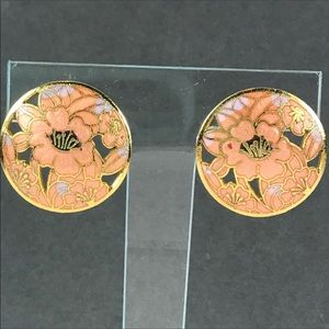 Vintage peach flower cloisonné earrings